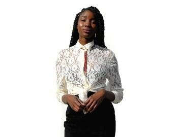 Cream lace button up blouse 1990s 90s VINTAGE