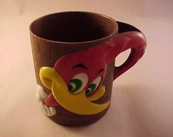 Woody Woodpecker Cartoon Character Plastic Cup 1965