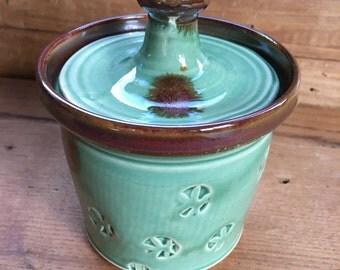 Lidded jar, handmade jar, pottery lidded jar