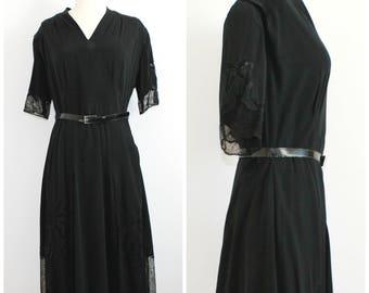 SALE Black Midcentury Lace Panel Dress with Belt