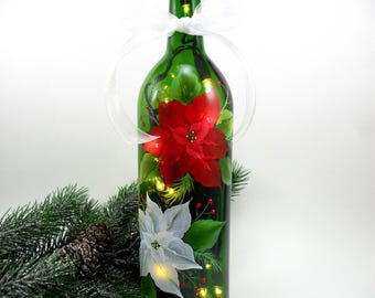 Lighted Wine Bottle Red White Poinsettias Hand Painted 750 ml