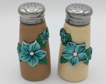 Turquoise Flower Salt and Pepper Shaker Set; Aqua Plumeria; Polymer Clay Dinnerware Style #: BLF02