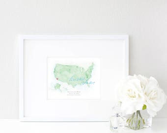 United States Watercolor Map | Destination Map | Personalized Watercolor Map | Honeymoon Map | Anniversary Map | Watercolor Wedding Map