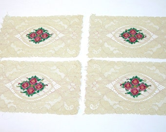 Vintage Lace Panels with Roses