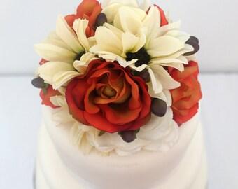 Fall Wedding Cake Topper - Orange Rose, Ivory Daisy, Hydrangea, Hypericum Berries, Fall Silk Flower Cake Topper, Wedding Cake Flowers