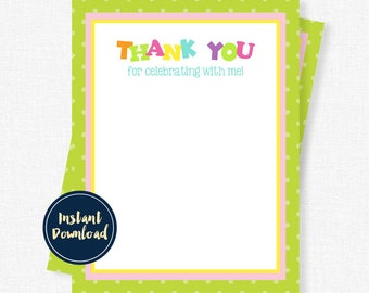 ABC123 Thank You Card, Alphabet Birthday Party Thank You, Girl Thank You, Blank Printable INSTANT DOWNLOAD