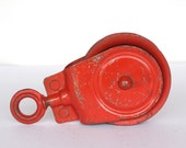 Vintage Red All Metal Pulley Industrial Decor