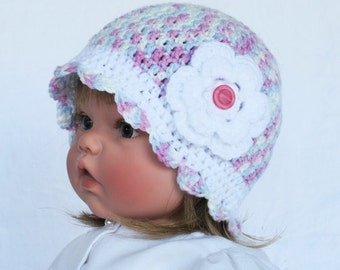 Little Girls Crocheted Pink and White Cap