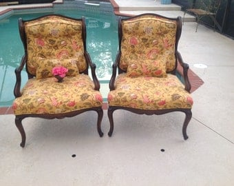 "VINTAGE BERGERE WINGBACK Chairs / Pair of French Provincial Bergere Chairs / Oversized  Bergeres 29"" wide /Cottage Style at Retro Daisy Girl"