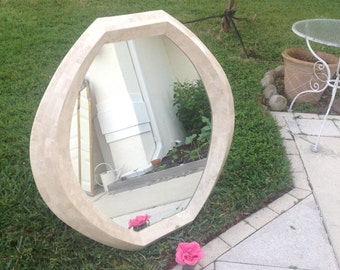 """TESSELLATED STONE MIRROR / Maitland-Smith Mid Century Modern Stone Mirror / 44"""" tall Tessellated Mirror at Retro Daisy Girl"""