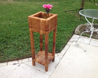 "VINTAGE RATTAN PLANT Stand / Tall Wrapped Rattan Plant Stand / 36 1/2"" / Woven Rattan Stand / Palm Beach Island Style at Retro Daisy Girl"