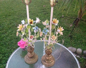 Shabby Chic TOLEWARE LAMPS / Pair of Chippy Metal Toleware Lamps / Pinks blue yellow Flowers & Roses Cottage Style at Retro Daisy Girl