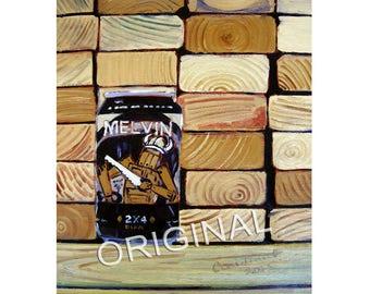 Melvin Brewing, 2x4 DIPA, Wyoming Beer Art, Gift for Carpenter, Art for a Man, Gift for Beer Nerd, Groomsman Gift, Beer Painting, Bar Art