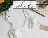 Natural Organic Cotton and Lace Bralette Handmade Sample Sale Size Small/Medium Medium/Large