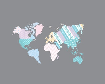 World Map Decal, Nursery Wall Vinyl, World Map Wall Decal - Patterned World Map - Map Vinyl Decals