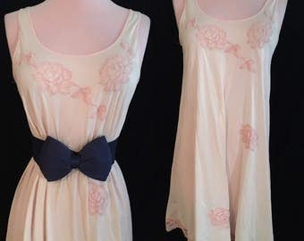 Vintage Rose Applique Pink Slip Dress - Small Medium Large
