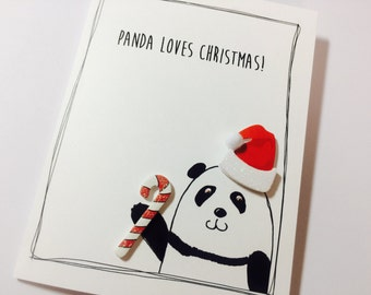 Panda Christmas Card made on recycled paper, comes with envelope and seal