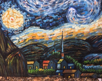 STARRY STARRY NIGHT Van Gogh Style by Garrah Reproduction Original at Modern Logic