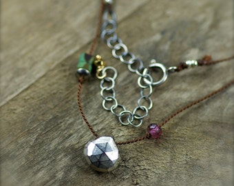 Silver Pyrite, Rubellite Garnet, and Turquoise Gemstone Necklace. Simple Silk Necklace. Hand Knotted Silk Necklace.