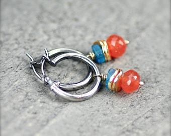 Carnelian and Apatite Gemstone Earrings Oxidized Sterling Silver.  Simple Hoops and Gemstones.  Simple Hoop Earrings