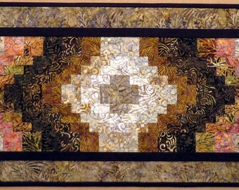 Quilted Batik Bargello Table Runner Brown Cream Rose