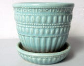Vintage mint green McCoy planter flower pot