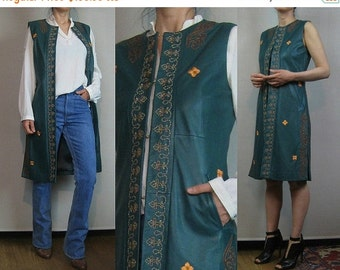 FALL SALE 90s JADE Beaded Leather Vintage Embroidered 90s Does 70s Genuine Leather Green Folk Boho Vest Dress Sleeveless Coat Small s/m 1970