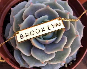 Brooklyn Engraved Bar Necklace - Select your Finish
