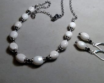 White agate with black spinel necklace and earrings set on sterling silver by EvyDaywear
