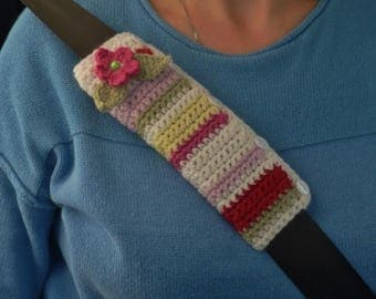 CAR SEATBELT  sleeve / cover ( padded ) . A super-soft wool/ alpaca blend.  Stripes .  ...UK seller....  ready to ship