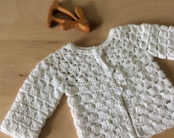 white knitted baby sweater, lace baby cardigan, crochet baby sweater, summer baby gift, cotton, baby girls gift by warm and woolly