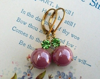 On Sale Rose Berry Bubbles, Pearly Rose Glass Bubbles and Peridot Green Swarovski Crystal Rhinestone Jewel Earrings