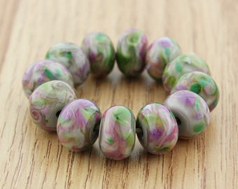 Sheribeads Glass Beads 12 Japanese Maple Swirl Spacers Lampwork