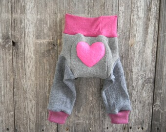 NEWBORN Upcycled Wool Longies Diaper Cover With Added Doubler Gray/ Pink With Heart Applique NEWBORN 0- 3M Kidsgogreen
