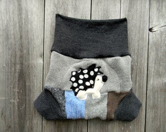 Upcycled  Wool Soaker Cover Diaper Cover With Added Doubler Boy's Patchwork With Hedgehog Applique LARGE 12-24M Kidsgogreen