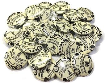"Ouija, 1"", 1.5"", Button, Halloween Party Favor, Ouija Gift, Ouija Button, Ouija Pin, Ouija Board, Ouija Theme, Ouija Buttons, Ouija Badge"