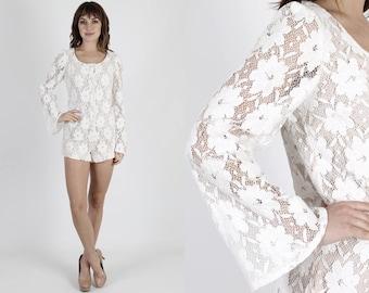 Romper White Romper 60s Dress Mod Mini Dress Crochet Romper Vintage 60s Mod Wedding Romper White Floral Lace Bell Sleeve Mini Dress Romper S