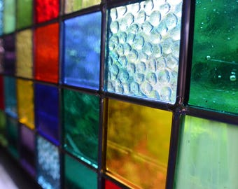 Stained Glass Panel - Patchwork Quilt Design - Suncather Window
