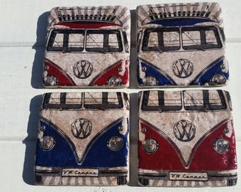 VW Camper Coaster Set of 4 Tea Coffee Beer Coasters