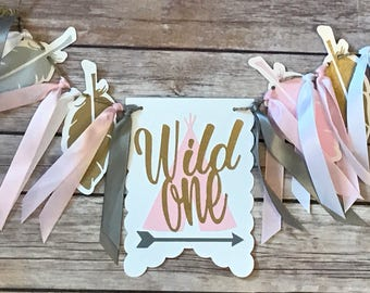 NEW!!  Wild One | Grey Pink Gold | High Chair Banner | photo prop