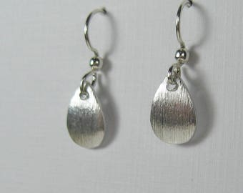 Petite silver drop earrings, nickel free surgical steel earrings, brushed sterling silver, small dangle earrings, simple dainty earrings