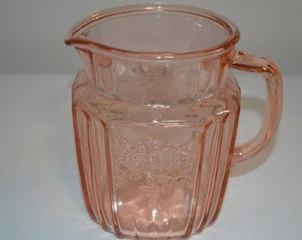 Pink depression glass Mayfair Open Rose 32 ounce water pitcher vintage jug pitcher