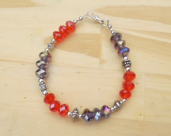 Small Clemson Bracelet, Orange and Purple Crystal Beads, Silver Beading, Clemson Colors Bracelet, Large Reflective Crystals
