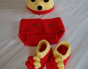 Hand Crochet Winnie The Impoohster Infant Set, Winnie The Pooh Inspired Infant Photo Prop Set, Winnie Inspired Hat & Diaper Cover Set,Bootie