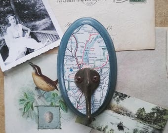 Lake George Wall Hook, Coat Hook Made From a Vintage Map of New York, Rustic Key Hook, Travel Inspired Wall Hanger