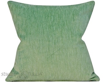 Mint green strie pillow cover - decorative pillow cover - 20 inch - green velvet - mint green - celadon - velvet - ready to ship