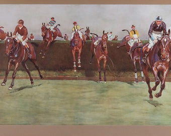 Vintage Steeplechase Horse Print /Cecil Aldin (English, 1870 – 1935) The Grand National Series: No. 3, Valentine's Brook, c. 1923,