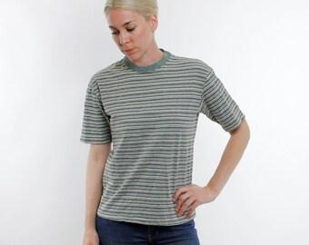Vintage 90's striped t-shirt, heather forest green, khaki, white, & black, thin stripes, no pocket - Large