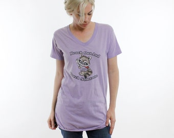 "Vintage 80's t-shirt nightgown, ""Reach Out and Touch Someone"" Telephone Pioneers of America, cute racoon cartoon, lavender - Medium"