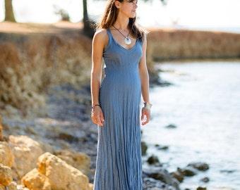 Long Linen Dress/Denim Blue/Pure linen/Maxi/Summer Linen/Boho Beach/Crinkled Linen